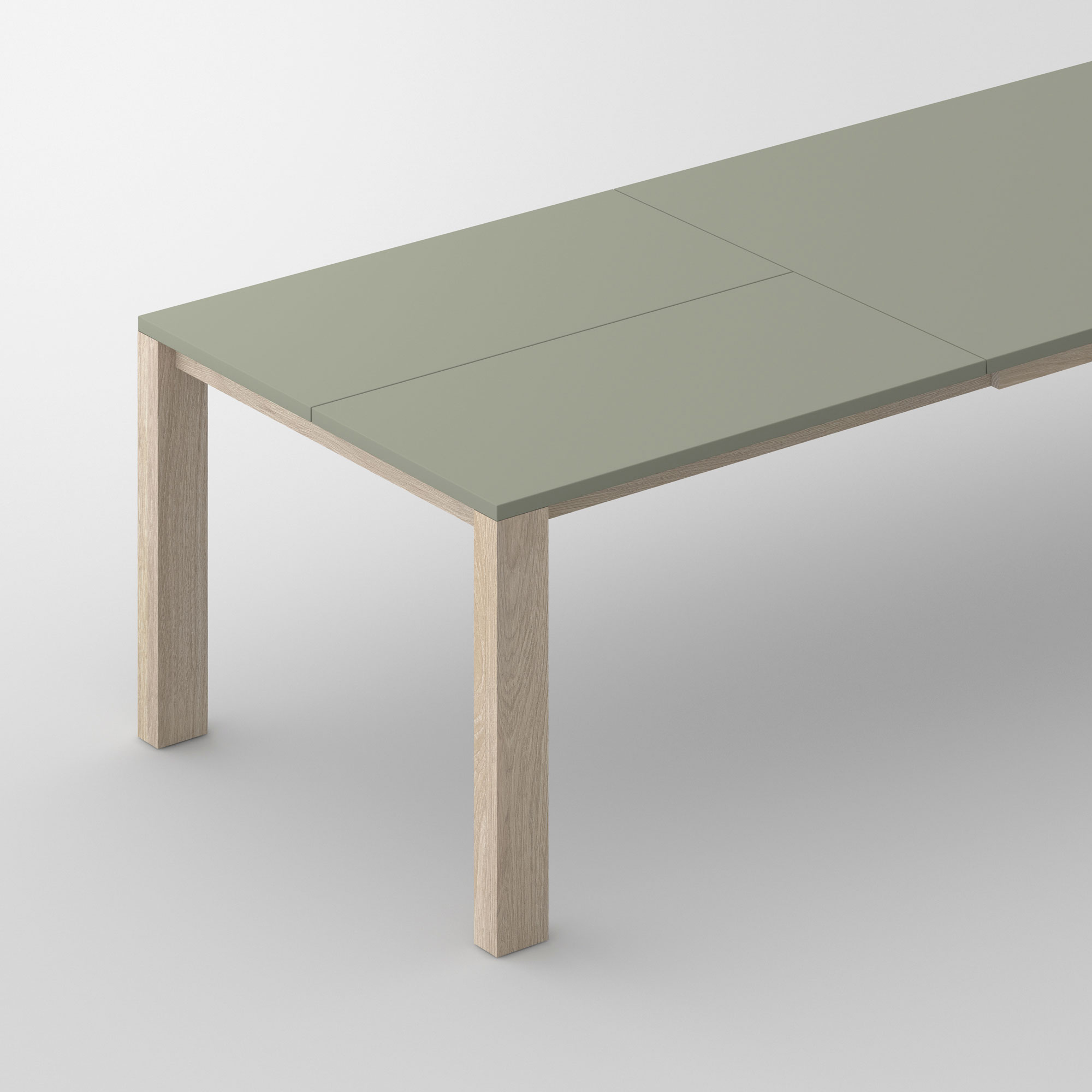 Extensible Linoleum Wood Table VARIUS BUTTERFLY LINO custom made in solid wood by vitamin design